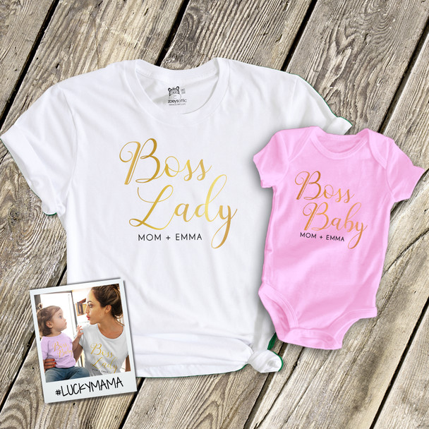 Boss lady and boss baby glitter or foil unisex tshirt and baby bodysuit gift set