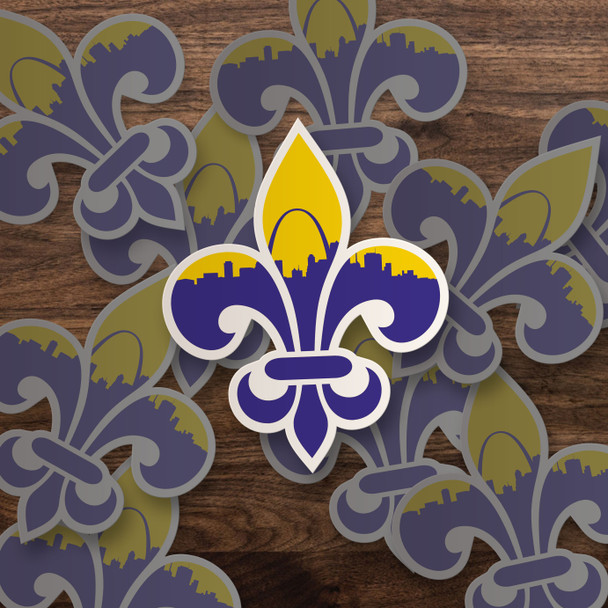 Saint Louis skyline fleur de lis vinyl sticker