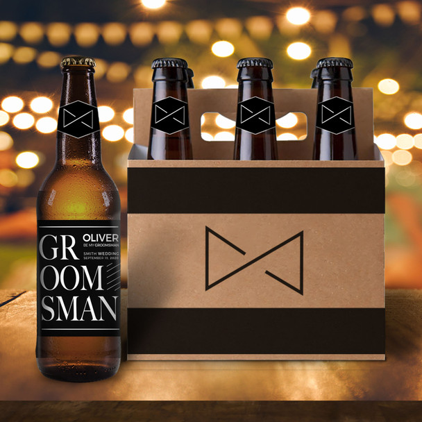 Be my groomsman six pack beer holder with labels