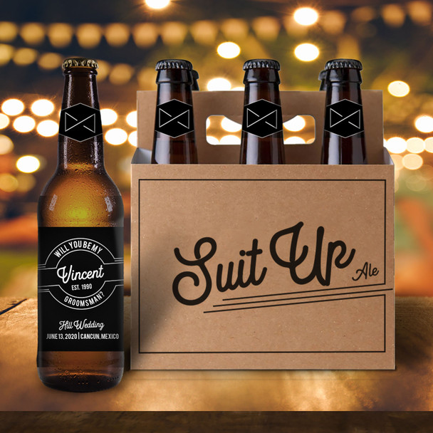 Suit up bow tie will you be my groomsman six pack beer holder with labels