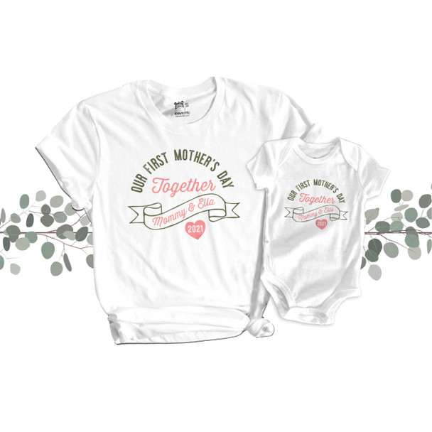 Our First Mother's Day Together mommy baby matching shirt and bodysuit gift set