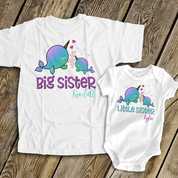 Narwhal big sister little sister matching sibling shirt set