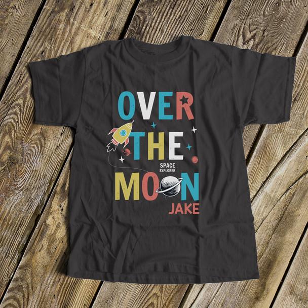 Spaceship rocket over the moon DARK Tshirt