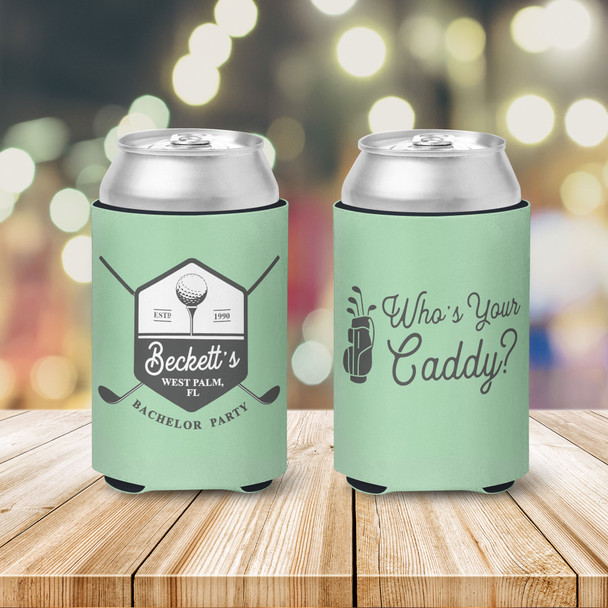 Bachelor party golf who's your caddy personalized can coolies