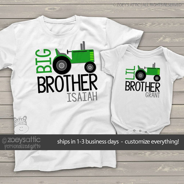 Brother or sister tractor sibling Tshirt set