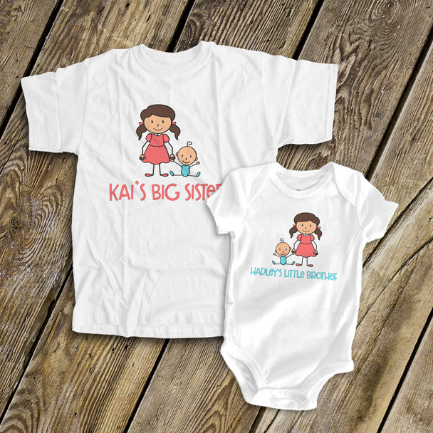 Brother or sister stick figure sibling Tshirt set
