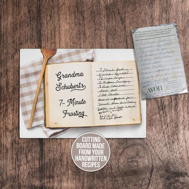 Handwritten keepsake recipe cutting board