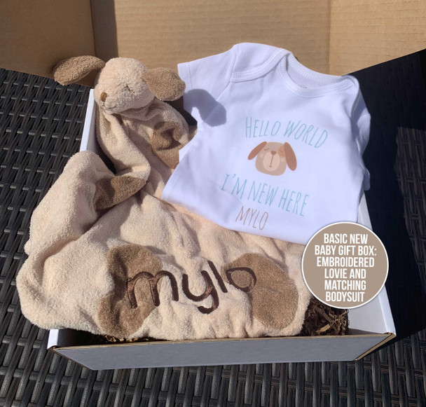 New baby embroidered puppy lovie and matching bodysuit gift set