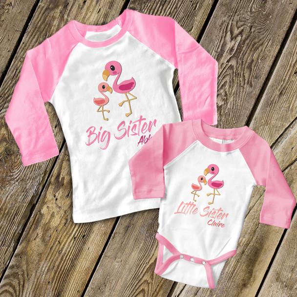 Big sister little sister flamingo matching raglan sibling set