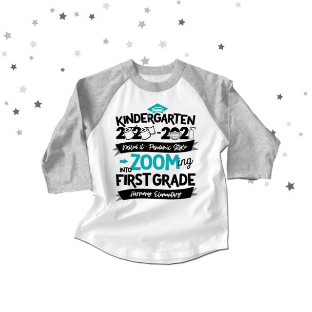 Kindergarten quarantine style zooming into first grade graduation raglan shirt
