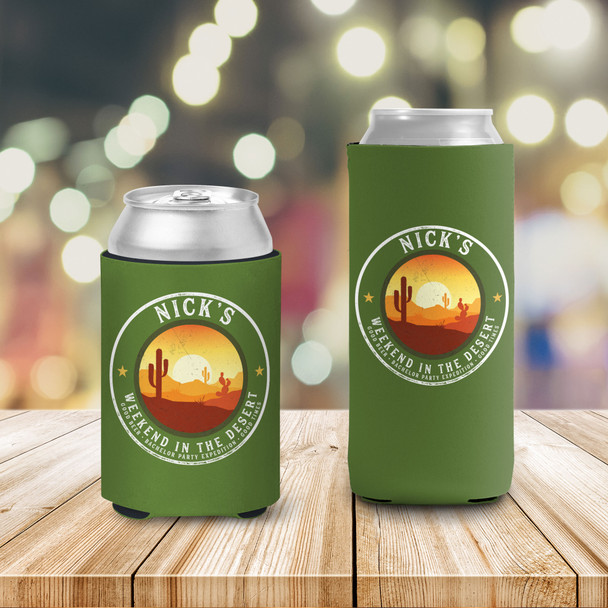 Bachelor party weekend in the desert personalized can coolies