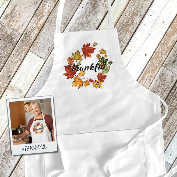 Thanksgiving autumn leaf wreath thankful adult apron