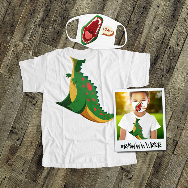Dinosaur kids face mask with optional matching Tshirt