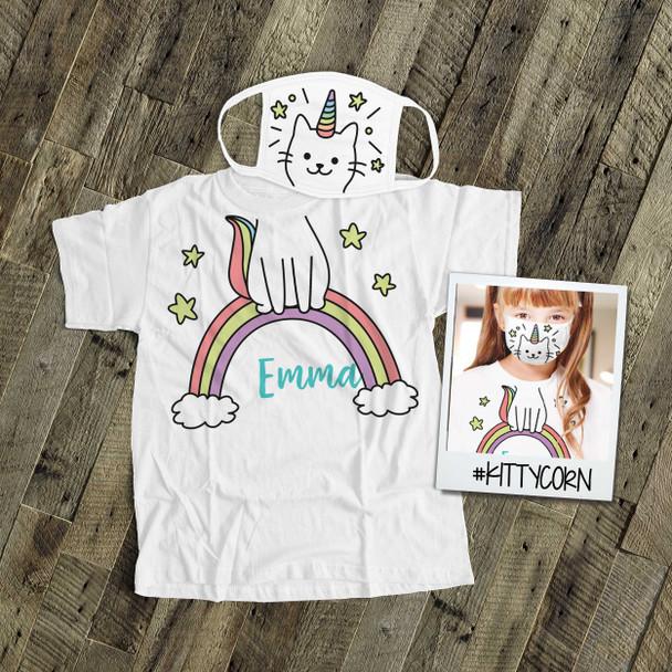 Kittycorn kids face mask with optional matching Tshirt