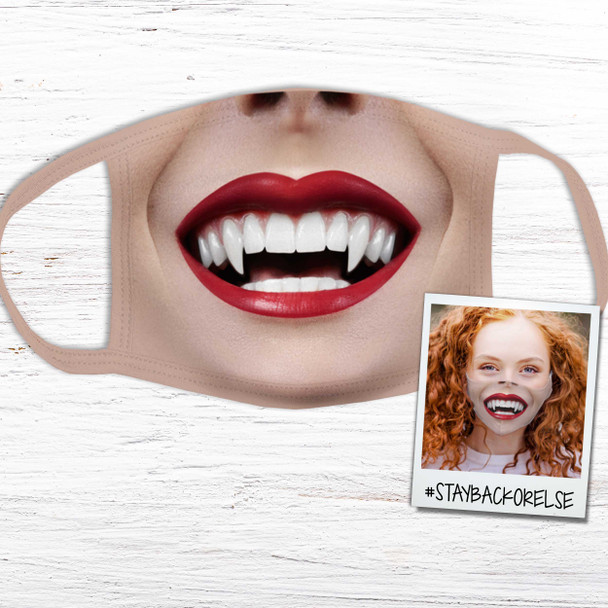 Funny red lips and fangs fabric face mask