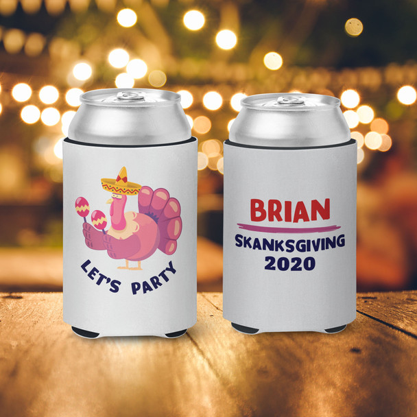 Thanksgiving let's party skanksgiving personalized slim or regular size can coolie