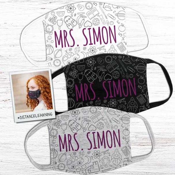 Teacher school theme personalized face mask