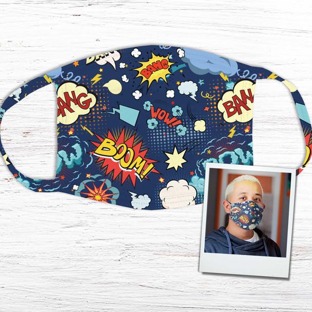Boom bang wow comic book text fabric face mask