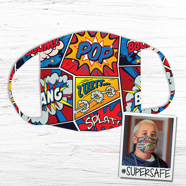 Comic book art pop splat fabric face mask