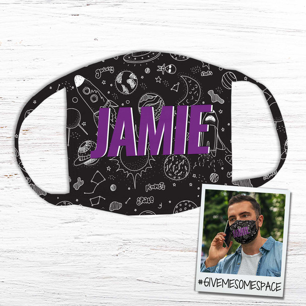 Outer space themed personalized fabric face mask