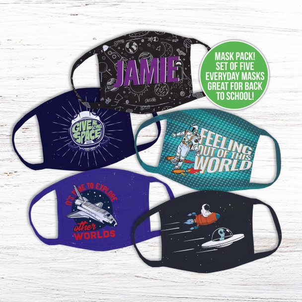 Outerspace exploration set of five fabric face masks