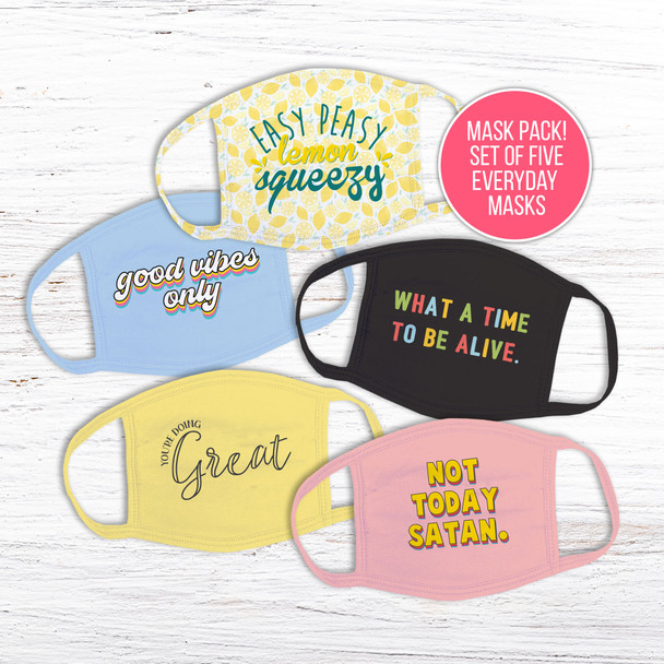 Fun everyday inspirational quotes set of five fabric face masks