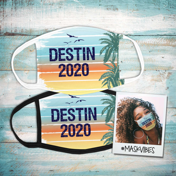 Family vacation beach destination personalized fabric face mask
