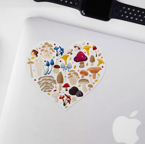 Mushroom heart vinyl sticker