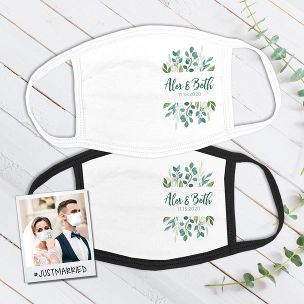 Wedding floral greenery wedding guest favor personalized face mask