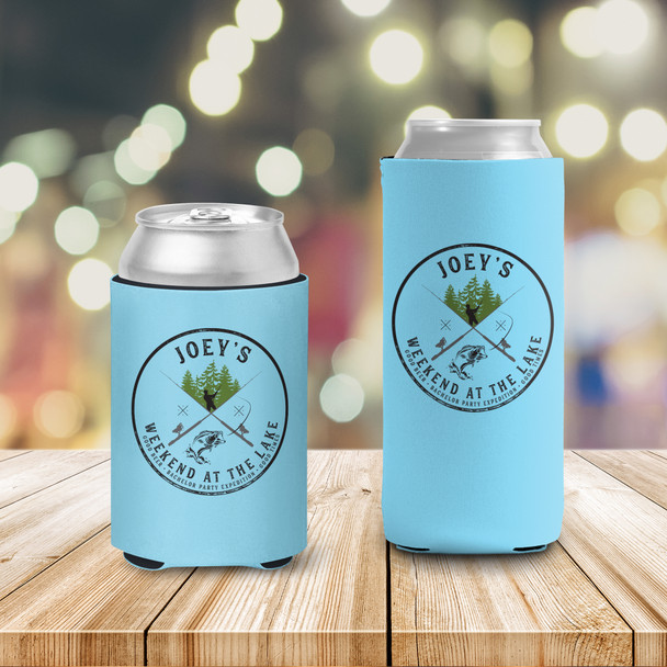 Bachelor party weekend at the lake fishing personalized can coolies
