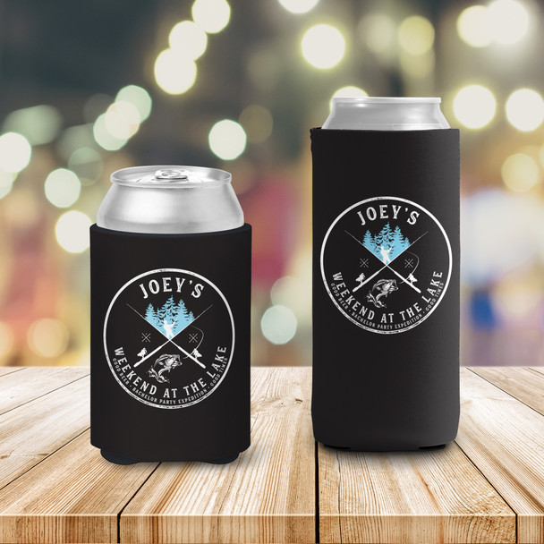 Bachelor party weekend at the lake fishing personalized BLACK can coolies