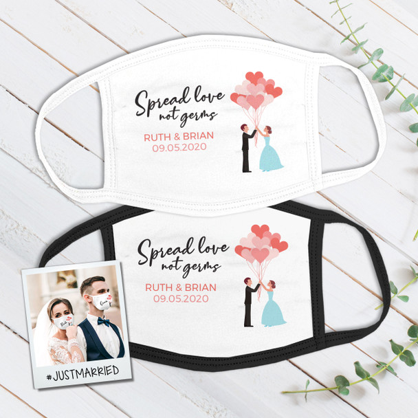 Wedding spread love not germs wedding guest favor personalized face mask