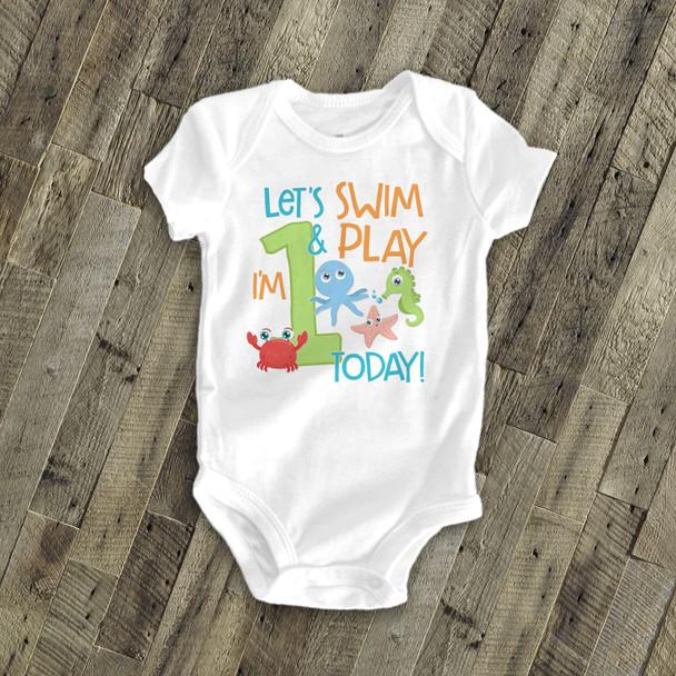 Birthday any age swim & play sea life Tshirt