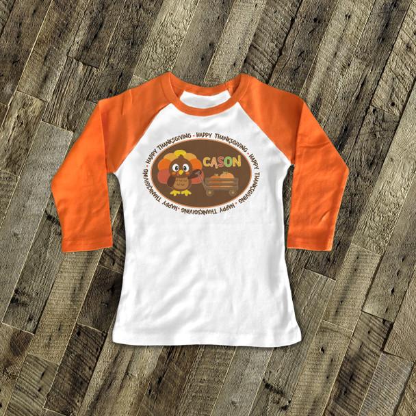 Thanksgiving boy turkey and pumpkin personalized raglan shirt