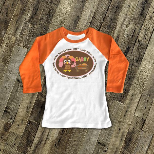 Thanksgiving girl turkey and pumpkin personalized raglan shirt