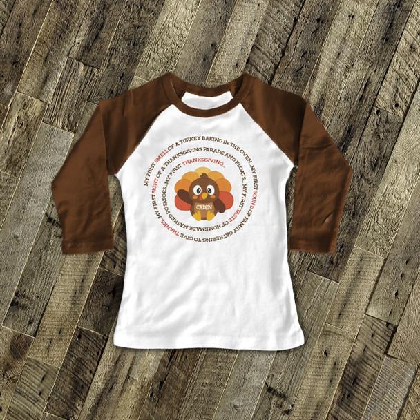 Thanksgiving little turkey first Thanksgiving personalized raglan shirt