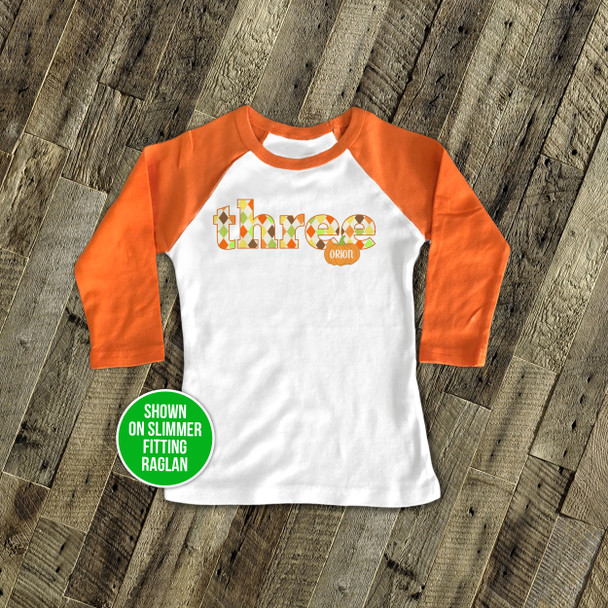 Third birthday or any age pumpkin raglan shirt