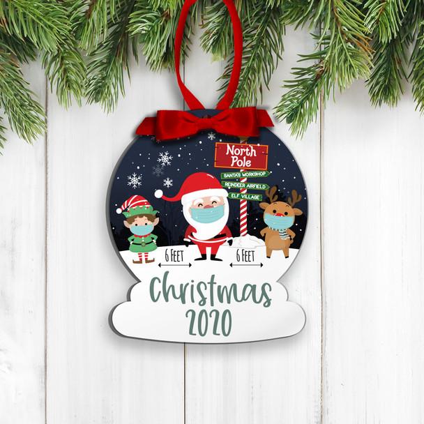 Christmas 2020 social distancing santa elf reindeer commemorative ornament