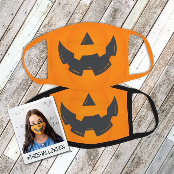 Halloween pumpkin face fabric face mask