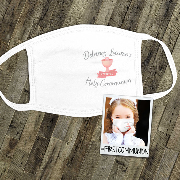 First Holy Communion girl personalized side print fabric face mask