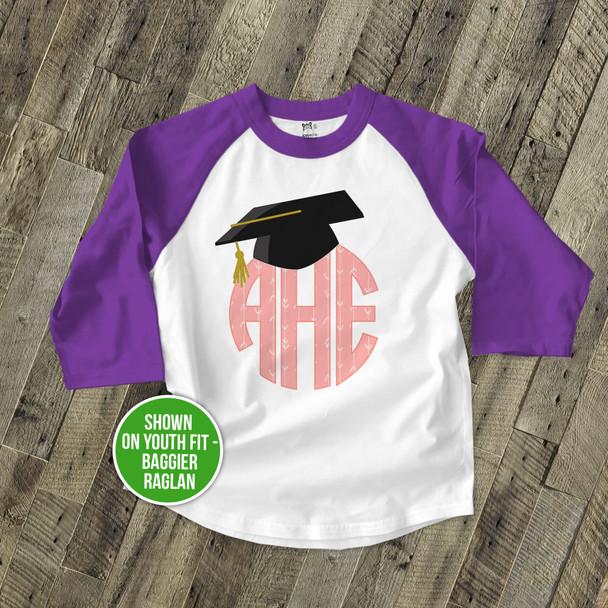 Graduation girl monogram with grad cap raglan shirt