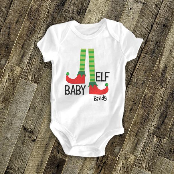 Christmas baby elf bodysuit or Tshirt
