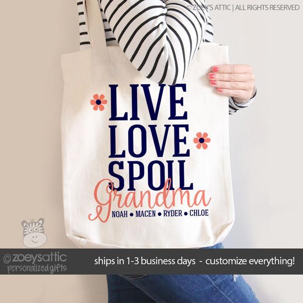 Nana or grandma tote live love spoil grandma personalized tote bag
