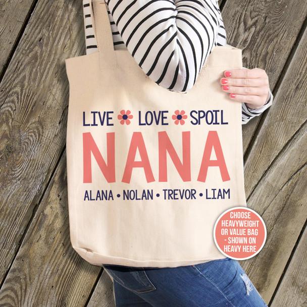 Nana or grandma tote live love spoil blue Nana personalized tote bag