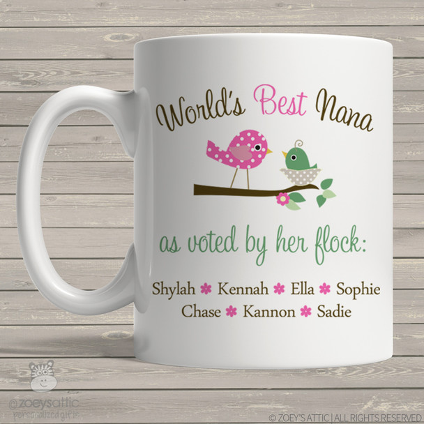 Coffee mug nana or grandma world's best Nana voted by flock personalized mug