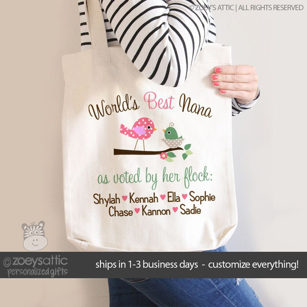 Nana or grandma tote world's best Nana voted by her flock personalized tote bag
