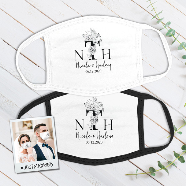 Wedding couple monochrome floral monogram wedding guest favor fabric face mask