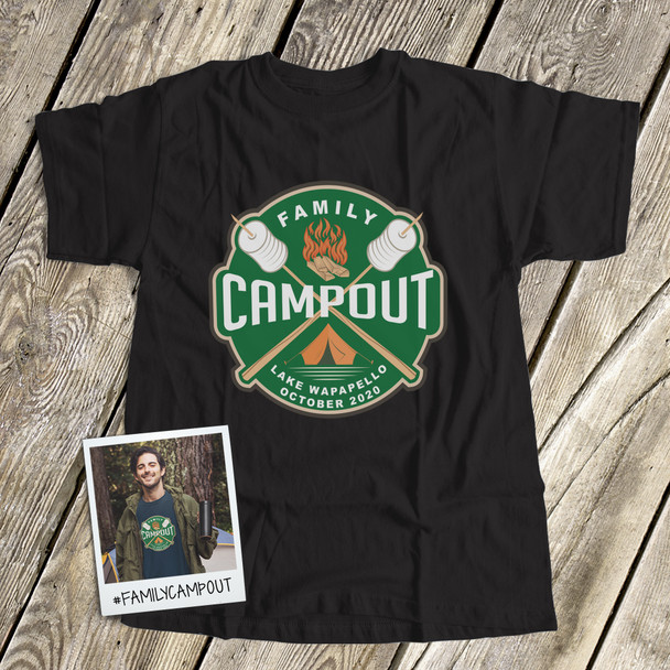 Family campout vacation personalized unisex DARK Tshirt