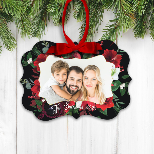 Christmas family photo berries and flowers personalized holiday ornament