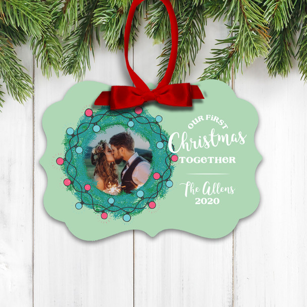 Our First Christmas together holiday wreath personalized photo ornament